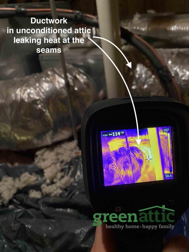 heat escape duct work attic unconditioned