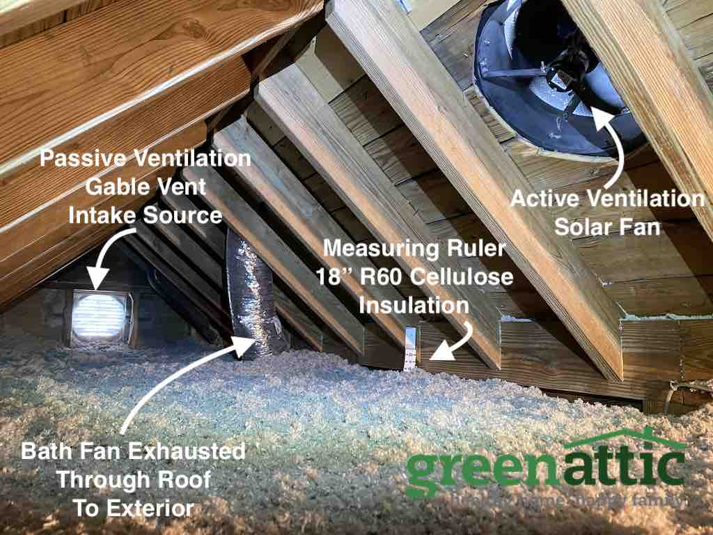 attic insulation bath fan exhaust through roof cellulose ventilation