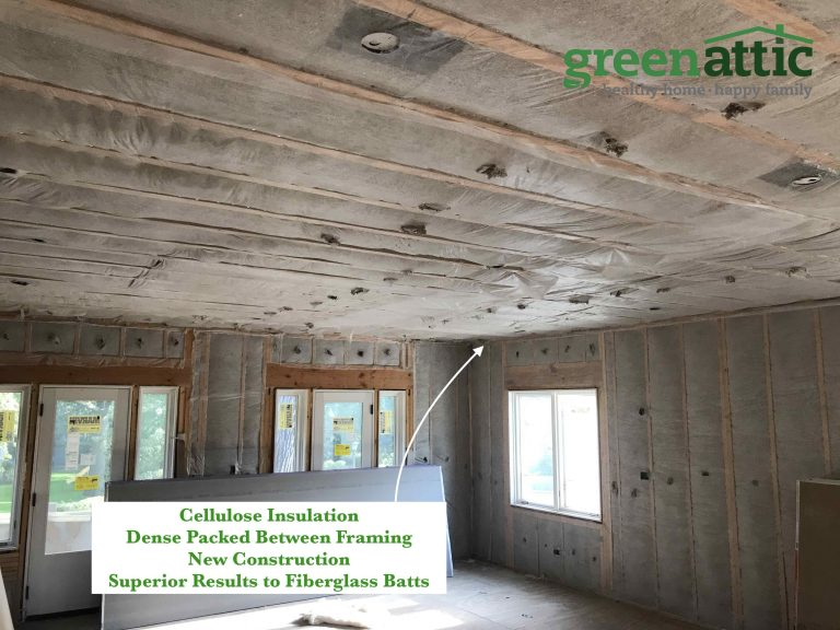 cellulose dense packed new construction walls 2x6 framing between studs