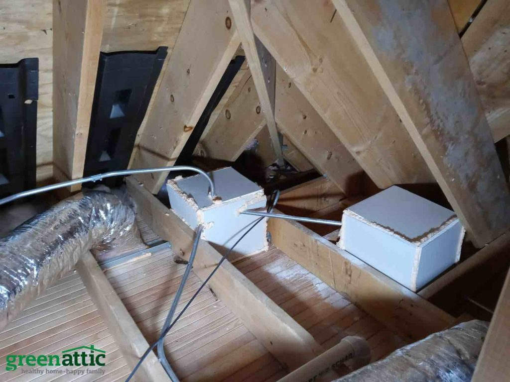 green attic insulation can lights cover baffles air ventilation air seal attic floor seal duct boots