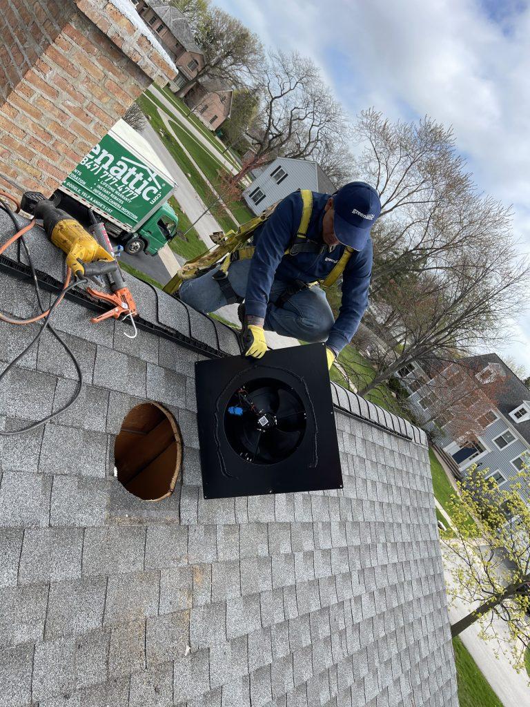 green attic insulation solar fan instalation #3