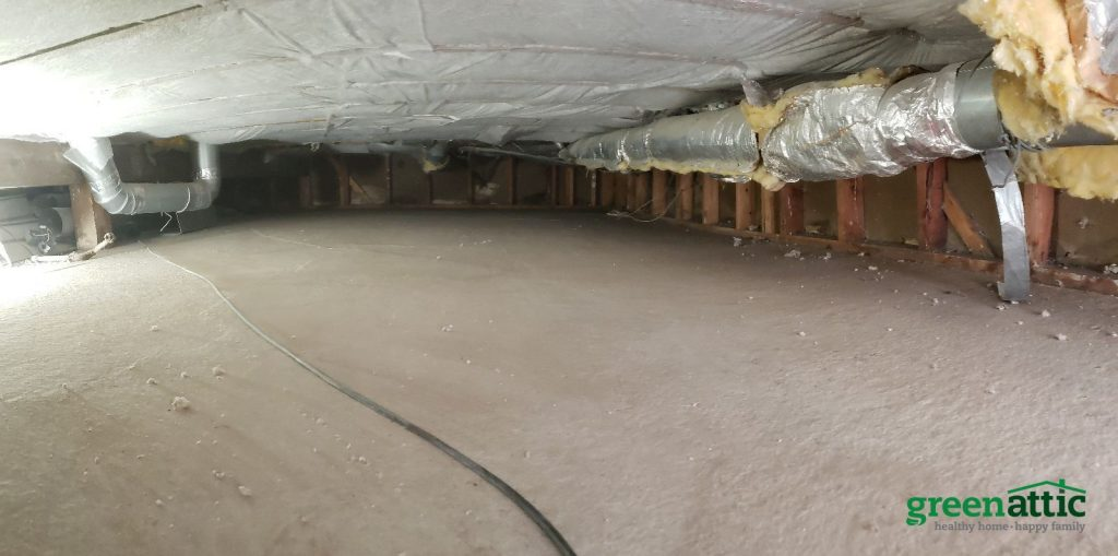 before crawlspace installed netting dense pack cellulose insulation green attic insulation