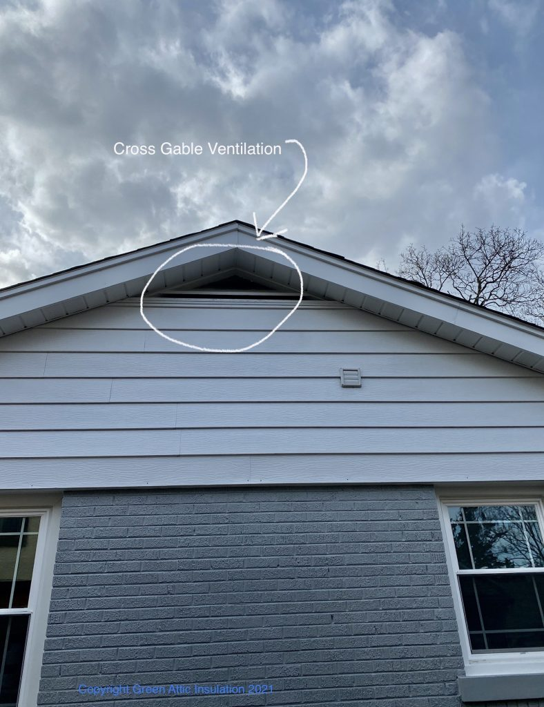 Residential ventilation attic vents cross gable vent Cross-gable vent green attic insulaiton gable-vent roof sheathing rafter baffles open ridge vents